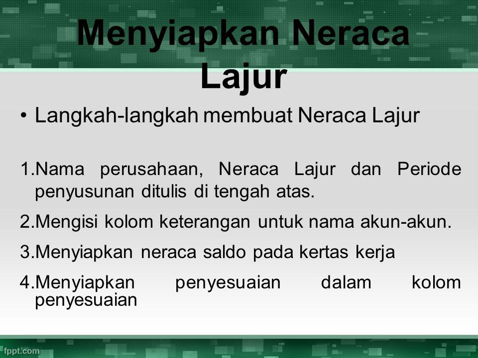 Langkah-langkah membuat Neraca Lajur 1.Nama perusahaan, Neraca Lajur dan Periode penyusunan ditulis di tengah atas. 2.Mengisi kolom keterangan untuk n