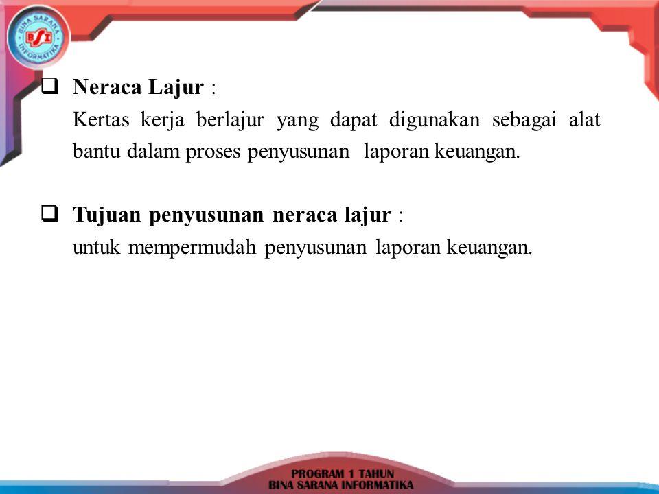  Neraca Lajur : Kertas kerja berlajur yang dapat digunakan sebagai alat bantu dalam proses penyusunan laporan keuangan.  Tujuan penyusunan neraca la