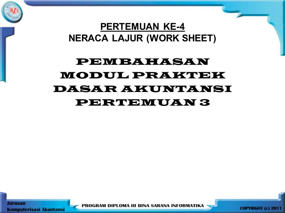 PERTEMUAN KE-4 NERACA LAJUR (WORK SHEET) PEMBAHASAN MODUL PRAKTEK DASAR AKUNTANSI PERTEMUAN 3