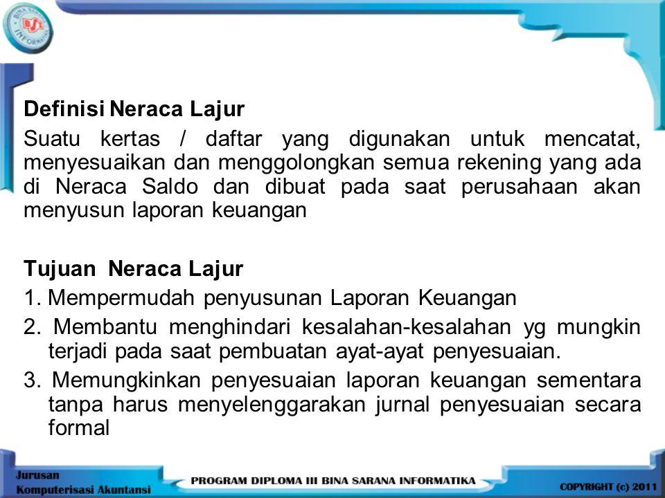 Definisi Neraca Lajur Suatu kertas / daftar yang digunakan untuk mencatat, menyesuaikan dan menggolongkan semua rekening yang ada di Neraca Saldo dan dibuat pada saat perusahaan akan menyusun laporan keuangan Tujuan Neraca Lajur 1.