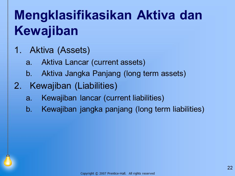 Copyright © 2007 Prentice-Hall. All rights reserved 22 Mengklasifikasikan Aktiva dan Kewajiban 1.Aktiva (Assets) a.Aktiva Lancar (current assets) b.Ak
