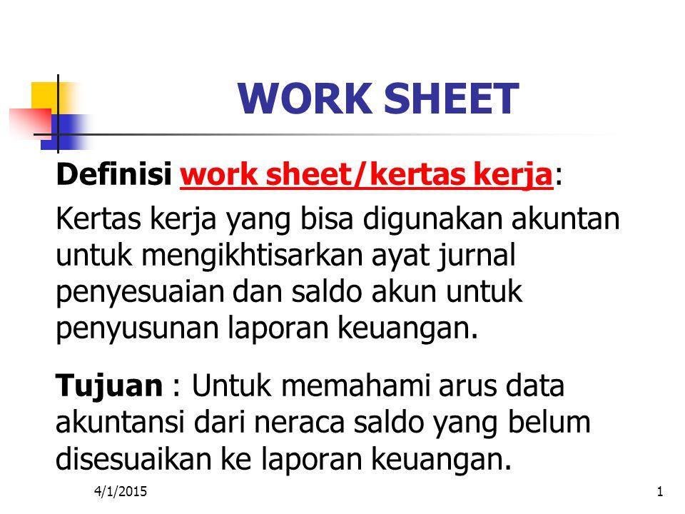 4/1/20151 WORK SHEET Definisi work sheet/kertas kerja:work sheet/kertas kerja Kertas kerja yang bisa digunakan akuntan untuk mengikhtisarkan ayat jurn