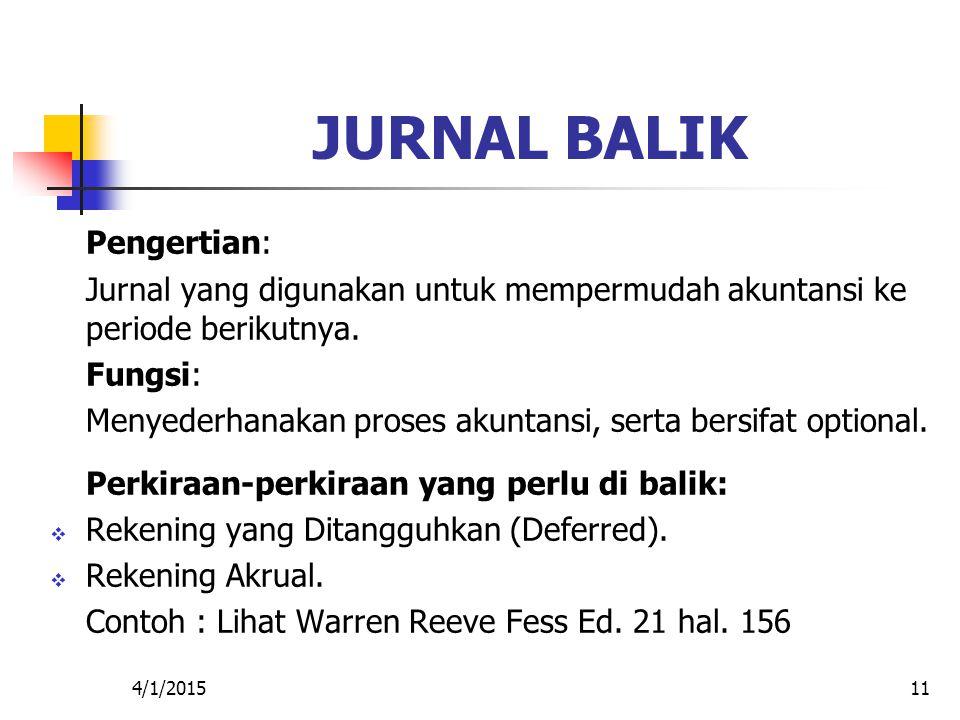 4/1/201511 JURNAL BALIK Pengertian: Jurnal yang digunakan untuk mempermudah akuntansi ke periode berikutnya. Fungsi: Menyederhanakan proses akuntansi,