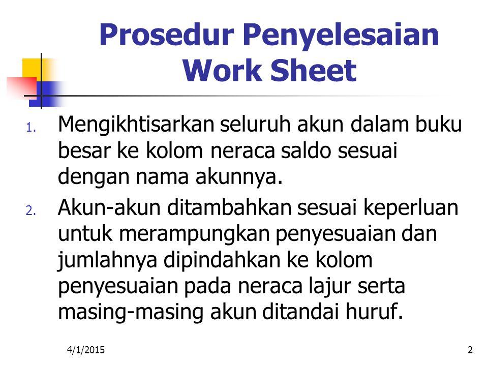 4/1/20152 Prosedur Penyelesaian Work Sheet 1. Mengikhtisarkan seluruh akun dalam buku besar ke kolom neraca saldo sesuai dengan nama akunnya. 2. Akun-