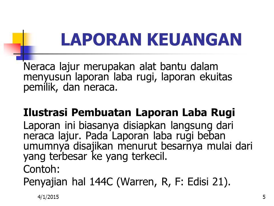 4/1/20155 LAPORAN KEUANGAN Neraca lajur merupakan alat bantu dalam menyusun laporan laba rugi, laporan ekuitas pemilik, dan neraca. Ilustrasi Pembuata