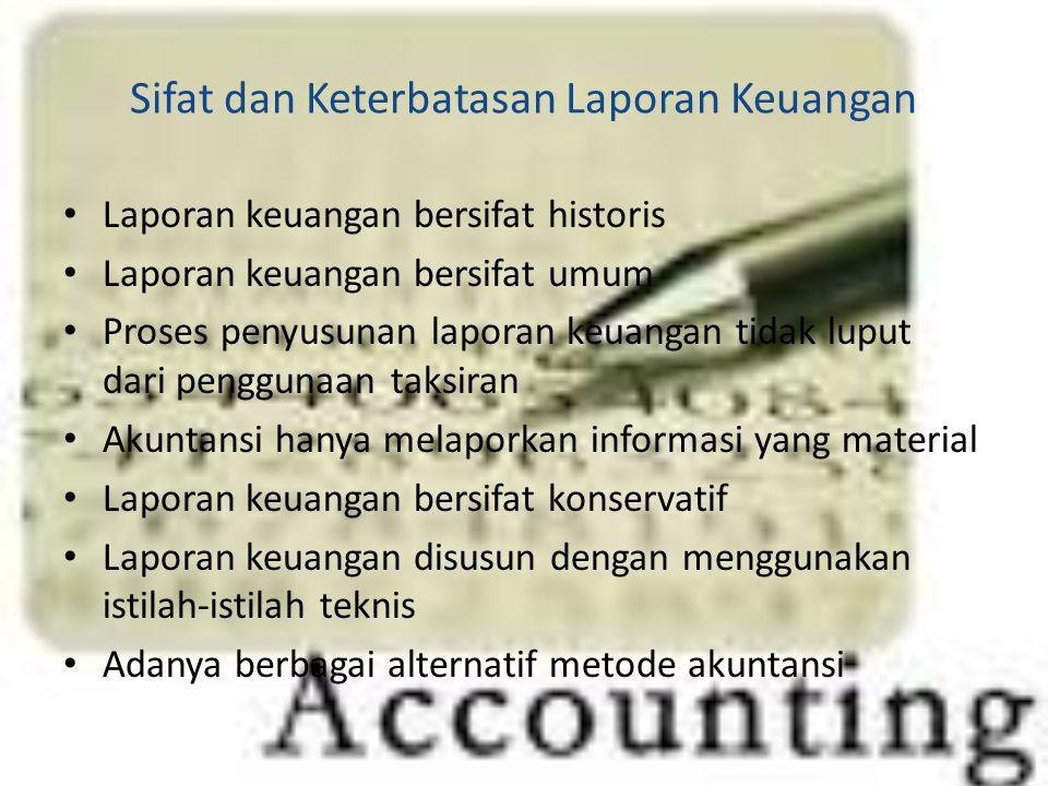 Sifat dan Keterbatasan Laporan Keuangan Laporan keuangan bersifat historis Laporan keuangan bersifat umum Proses penyusunan laporan keuangan tidak lup
