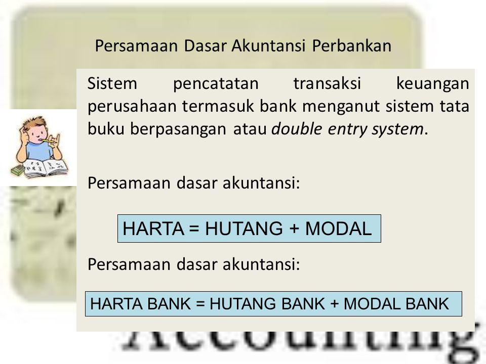 Persamaan Dasar Akuntansi Perbankan Sistem pencatatan transaksi keuangan perusahaan termasuk bank menganut sistem tata buku berpasangan atau double en