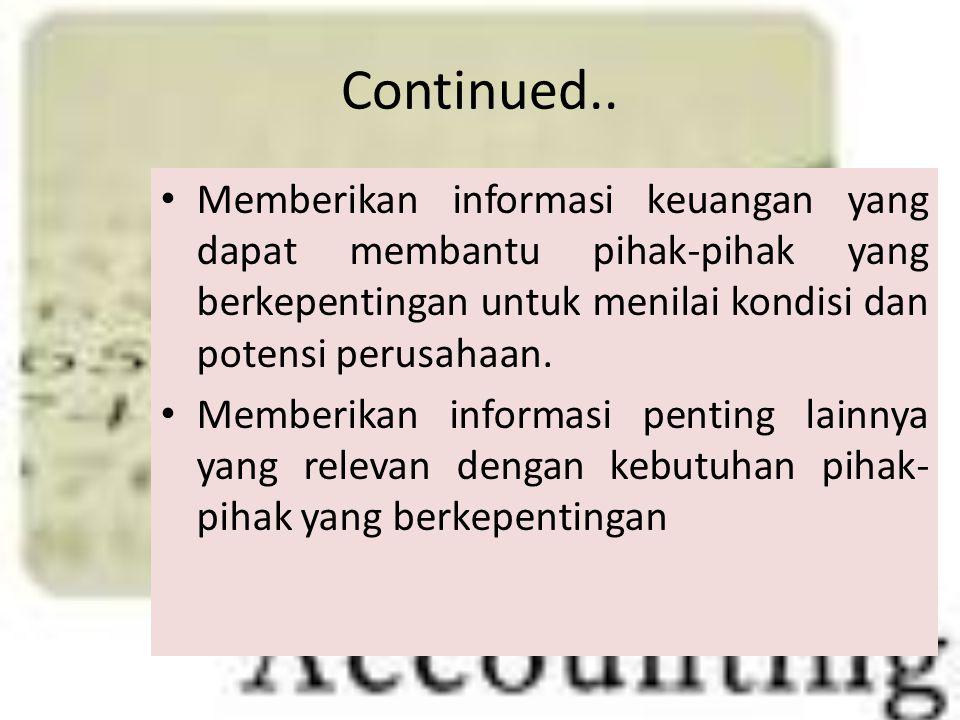 Continued.. Memberikan informasi keuangan yang dapat membantu pihak-pihak yang berkepentingan untuk menilai kondisi dan potensi perusahaan. Memberikan