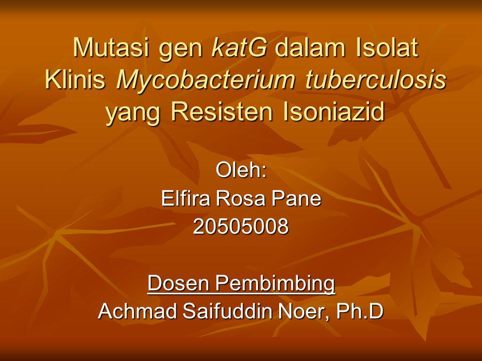 Mutasi gen katG dalam Isolat Klinis Mycobacterium tuberculosis yang Resisten Isoniazid Oleh: Elfira Rosa Pane 20505008 Dosen Pembimbing Achmad Saifudd