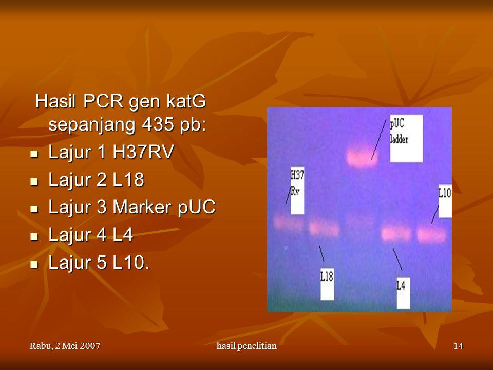 Rabu, 2 Mei 2007hasil penelitian14 Hasil PCR gen katG sepanjang 435 pb: Hasil PCR gen katG sepanjang 435 pb: Lajur 1 H37RV Lajur 1 H37RV Lajur 2 L18 L