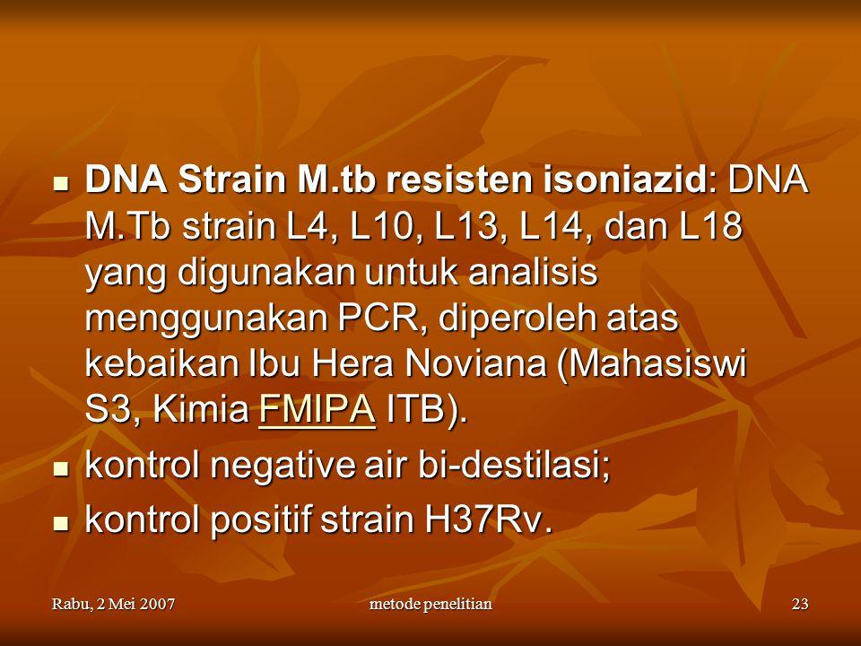 Rabu, 2 Mei 2007metode penelitian23 DNA Strain M.tb resisten isoniazid: DNA M.Tb strain L4, L10, L13, L14, dan L18 yang digunakan untuk analisis mengg