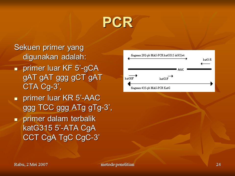Rabu, 2 Mei 2007metode penelitian24 PCR Sekuen primer yang digunakan adalah: primer luar KF 5'-gCA gAT gAT ggg gCT gAT CTA Cg-3', primer luar KF 5'-gC