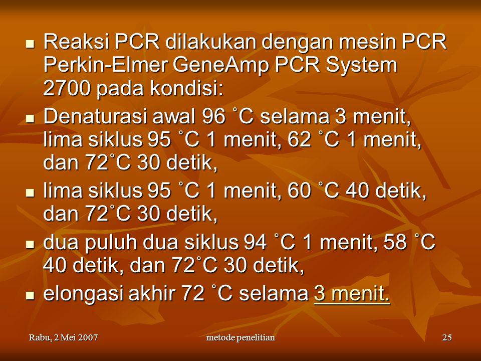Rabu, 2 Mei 2007metode penelitian25 Reaksi PCR dilakukan dengan mesin PCR Perkin-Elmer GeneAmp PCR System 2700 pada kondisi: Reaksi PCR dilakukan deng