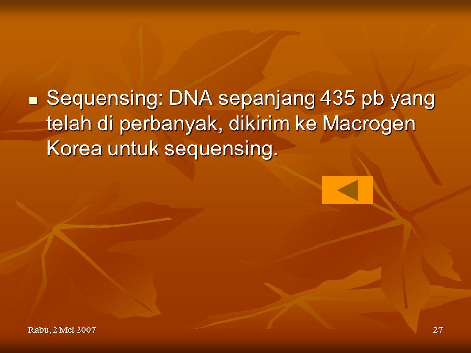 Rabu, 2 Mei 200727 Sequensing: DNA sepanjang 435 pb yang telah di perbanyak, dikirim ke Macrogen Korea untuk sequensing. Sequensing: DNA sepanjang 435