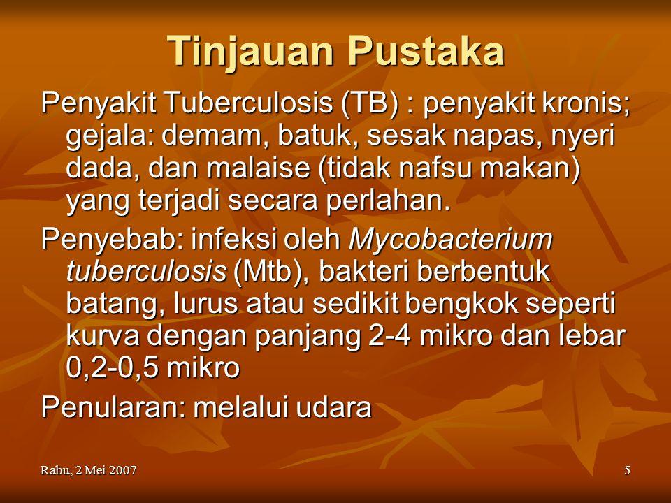 Rabu, 2 Mei 20075 Tinjauan Pustaka Penyakit Tuberculosis (TB) : penyakit kronis; gejala: demam, batuk, sesak napas, nyeri dada, dan malaise (tidak naf