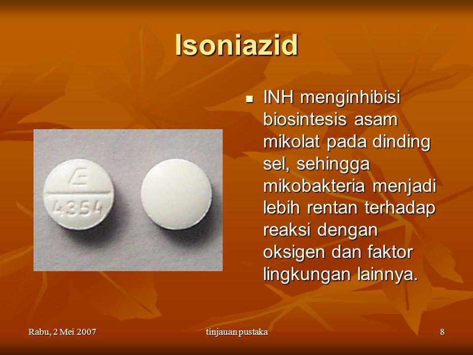 Rabu, 2 Mei 2007tinjauan pustaka9 Isoniazid Isoniazid (INH) adalah prodrug, akan diubah menjadi bentuk aktifnya yaitu asam nikotinat oleh enzim katalase peroksidase yang dikode oleh gen katG pada MTb Isoniazid (INH) adalah prodrug, akan diubah menjadi bentuk aktifnya yaitu asam nikotinat oleh enzim katalase peroksidase yang dikode oleh gen katG pada MTb katG mengaktifkan INH, mutasi pada katG menyebabkan MTb resisten terhadap INH katG mengaktifkan INH, mutasi pada katG menyebabkan MTb resisten terhadap INH
