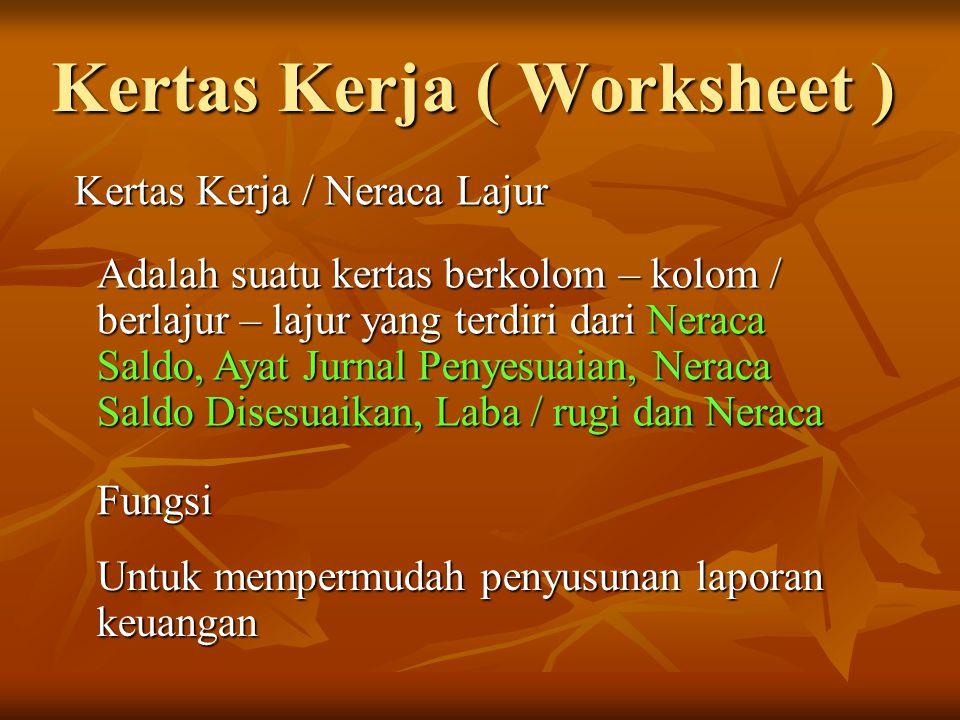 Kertas Kerja ( Worksheet ) Kertas Kerja / Neraca Lajur Adalah suatu kertas berkolom – kolom / berlajur – lajur yang terdiri dari Neraca Saldo, Ayat Ju