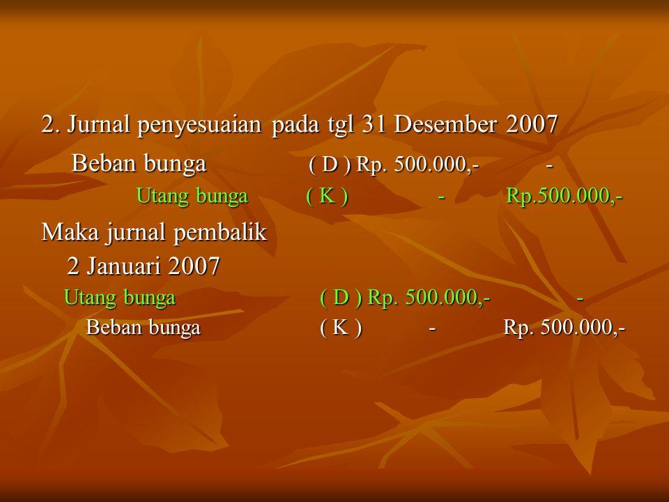 2. Jurnal penyesuaian pada tgl 31 Desember 2007 Beban bunga ( D ) Rp. 500.000,- - Beban bunga ( D ) Rp. 500.000,- - Utang bunga ( K ) - Rp.500.000,- U