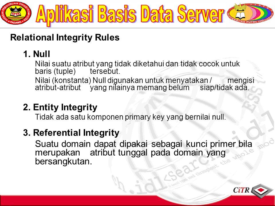 Relational Integrity Rules 1. Null Nilai suatu atribut yang tidak diketahui dan tidak cocok untuk baris (tuple) tersebut. Nilai (konstanta) Null digun