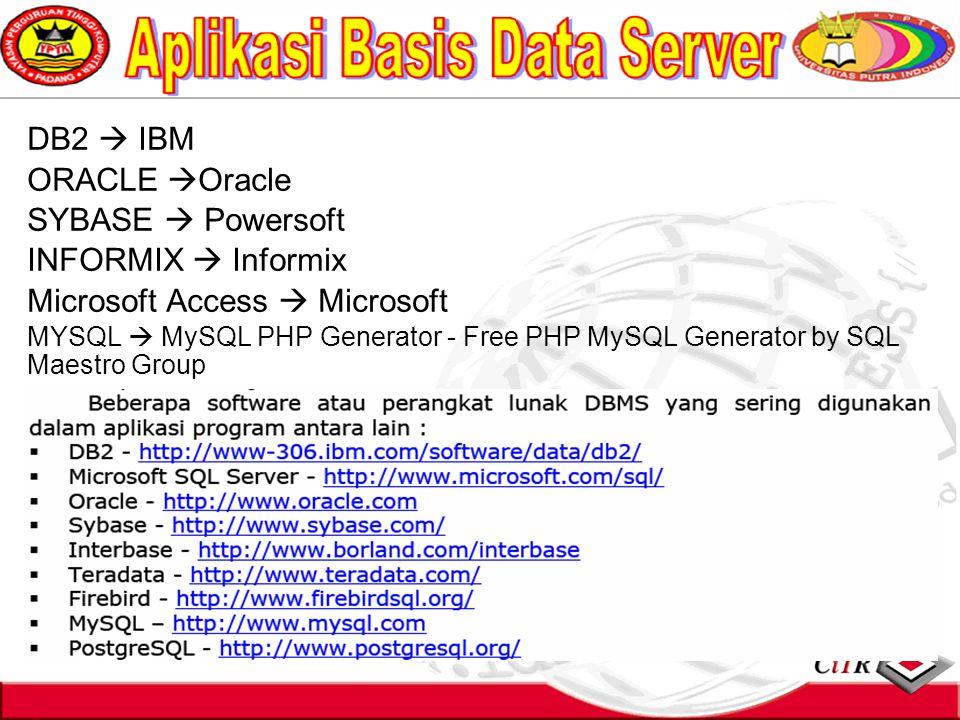 DB2  IBM ORACLE  Oracle SYBASE  Powersoft INFORMIX  Informix Microsoft Access  Microsoft MYSQL  MySQL PHP Generator - Free PHP MySQL Generator by SQL Maestro Group
