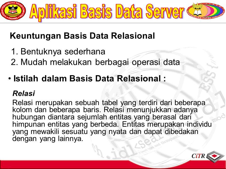 Keuntungan Basis Data Relasional 1. Bentuknya sederhana 2. Mudah melakukan berbagai operasi data Istilah dalam Basis Data Relasional : Relasi Relasi m