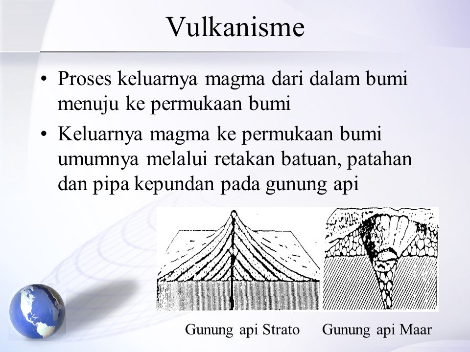 Vulkanisme Proses keluarnya magma dari dalam bumi menuju ke permukaan bumi Keluarnya magma ke permukaan bumi umumnya melalui retakan batuan, patahan d