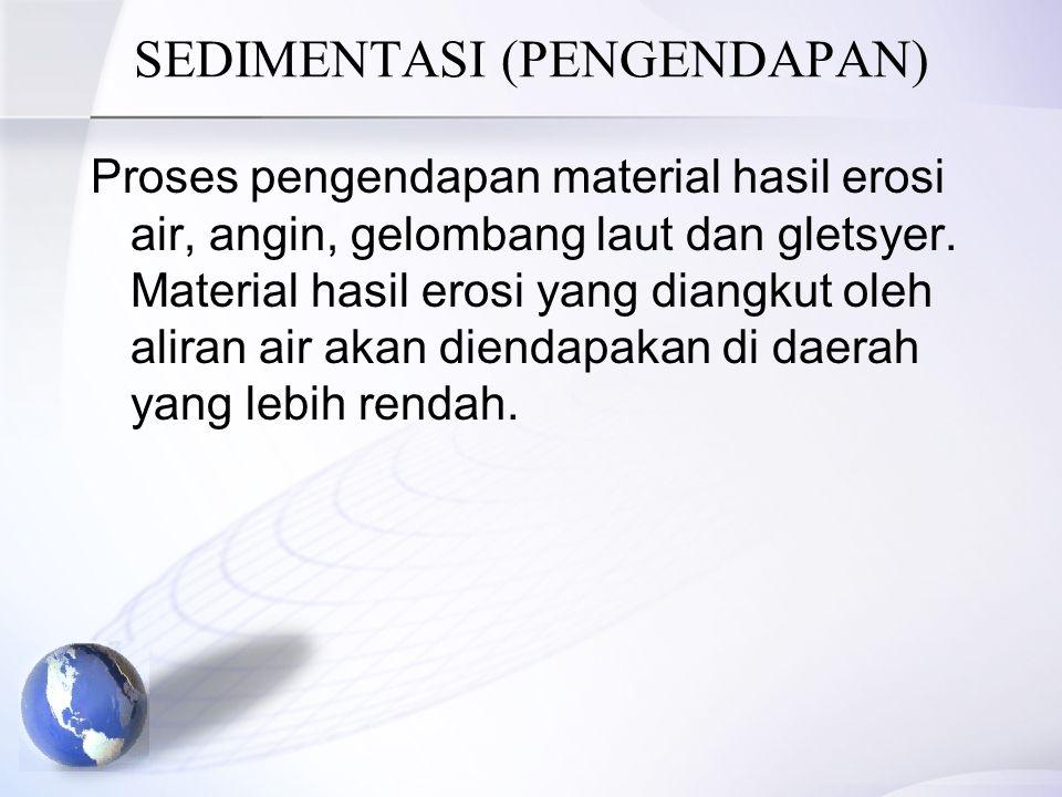 SEDIMENTASI (PENGENDAPAN) Proses pengendapan material hasil erosi air, angin, gelombang laut dan gletsyer. Material hasil erosi yang diangkut oleh ali