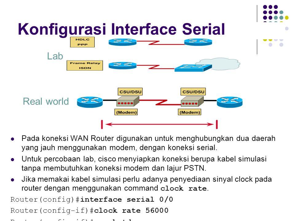 Lab Real world Pada koneksi WAN Router digunakan untuk menghubungkan dua daerah yang jauh menggunakan modem, dengan koneksi serial.