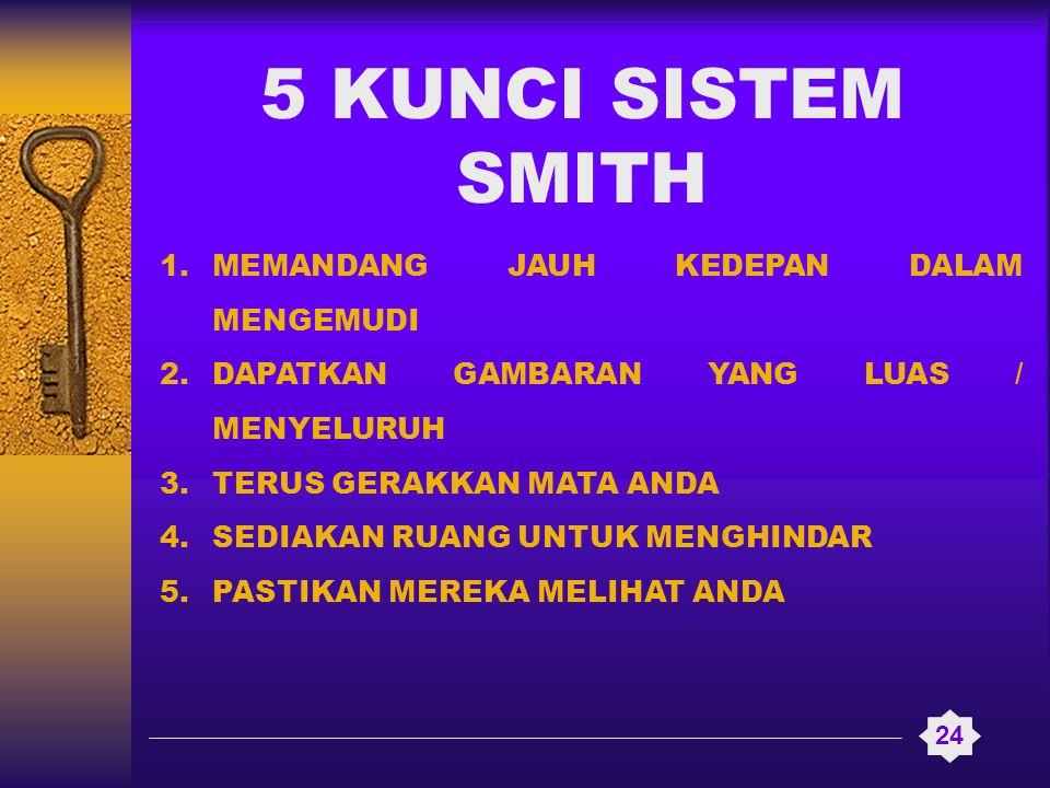 5 KUNCI SISTEM SMITH 24 1.MEMANDANG JAUH KEDEPAN DALAM MENGEMUDI 2.DAPATKAN GAMBARAN YANG LUAS / MENYELURUH 3.TERUS GERAKKAN MATA ANDA 4.SEDIAKAN RUAN