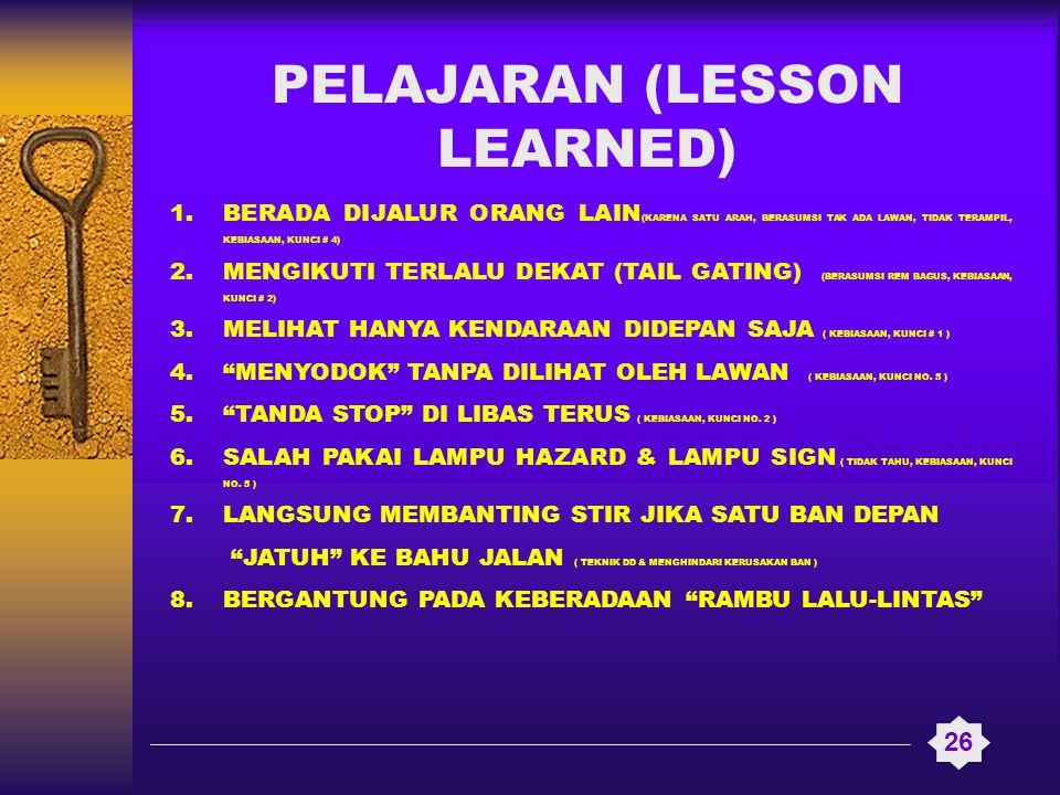 PELAJARAN (LESSON LEARNED) 26 1.BERADA DIJALUR ORANG LAIN (KARENA SATU ARAH, BERASUMSI TAK ADA LAWAN, TIDAK TERAMPIL, KEBIASAAN, KUNCI # 4) 2.MENGIKUT