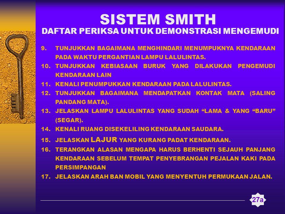 SISTEM SMITH 27a 9.TUNJUKKAN BAGAIMANA MENGHINDARI MENUMPUKNYA KENDARAAN PADA WAKTU PERGANTIAN LAMPU LALULINTAS. 10.TUNJUKKAN KEBIASAAN BURUK YANG DIL