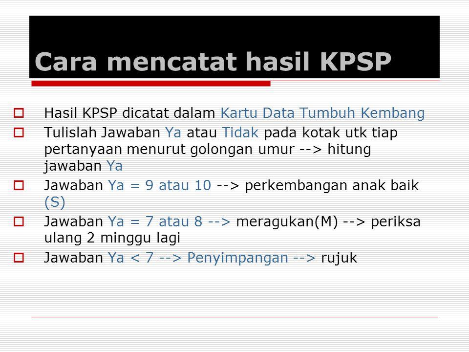 Cara mencatat hasil KPSP  Hasil KPSP dicatat dalam Kartu Data Tumbuh Kembang  Tulislah Jawaban Ya atau Tidak pada kotak utk tiap pertanyaan menurut