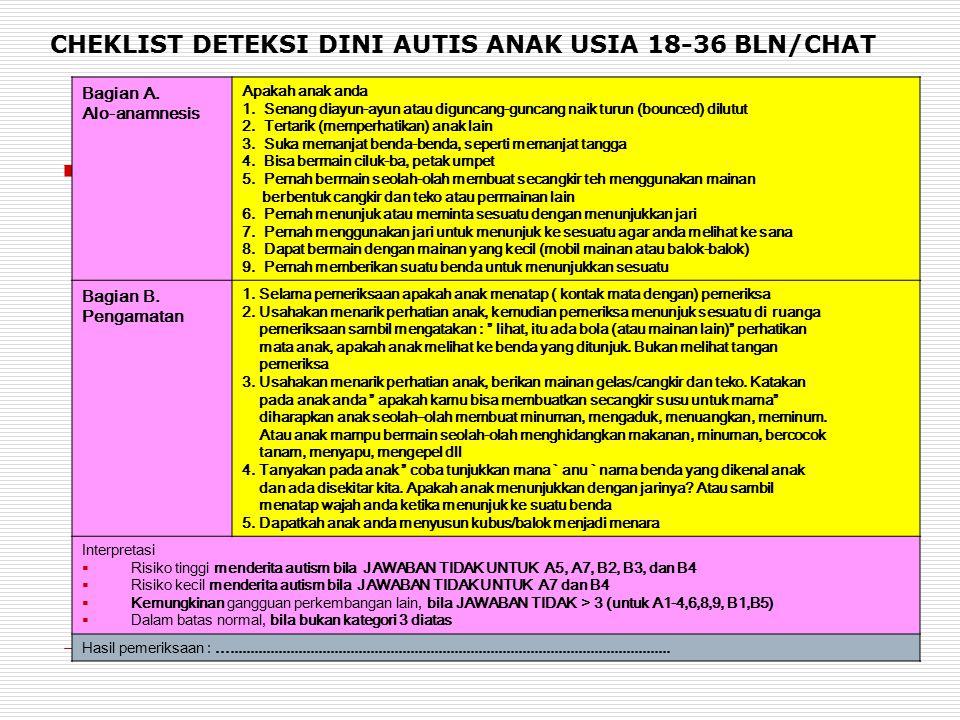 CHEKLIST DETEKSI DINI AUTIS ANAK USIA 18-36 BLN/CHAT Bagian A. Alo-anamnesis Apakah anak anda 1. Senang diayun-ayun atau diguncang-guncang naik turun