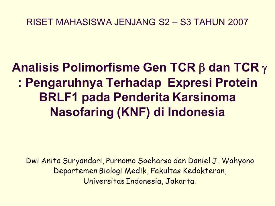 RISET MAHASISWA JENJANG S2 – S3 TAHUN 2007 Analisis Polimorfisme Gen TCR  dan TCR  : Pengaruhnya Terhadap Expresi Protein BRLF1 pada Penderita Karsi