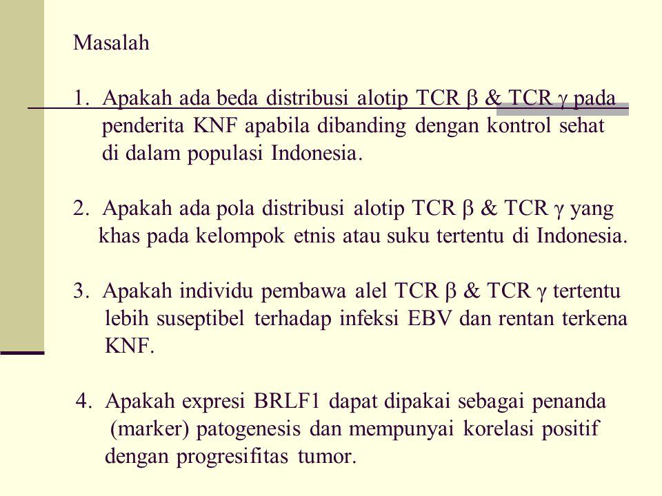 Masalah 1. Apakah ada beda distribusi alotip TCR  & TCR  pada penderita KNF apabila dibanding dengan kontrol sehat di dalam populasi Indonesia. 2. A