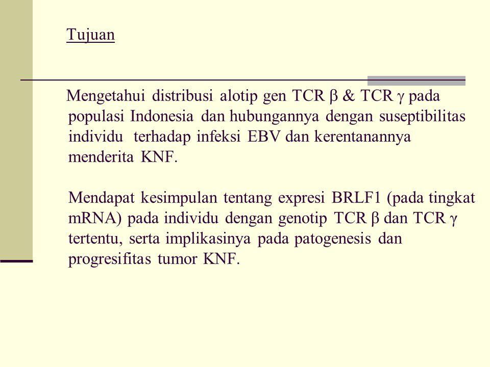 Tujuan Mengetahui distribusi alotip gen TCR  & TCR  pada populasi Indonesia dan hubungannya dengan suseptibilitas individu terhadap infeksi EBV dan