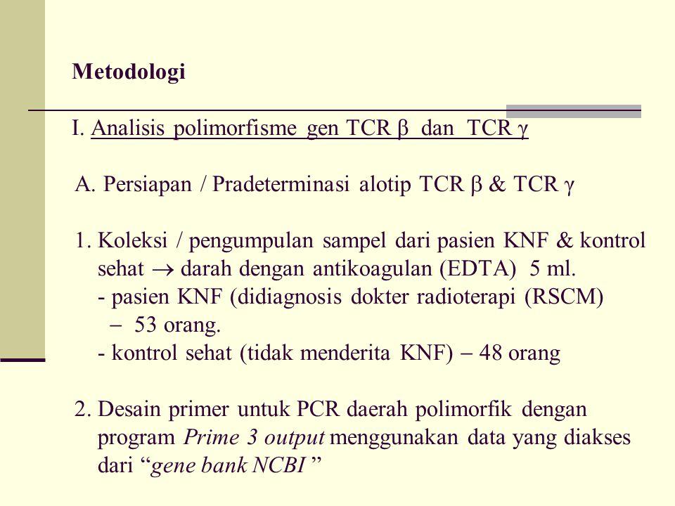 Metodologi I. Analisis polimorfisme gen TCR β dan TCR γ A. Persiapan / Pradeterminasi alotip TCR  & TCR γ 1. Koleksi / pengumpulan sampel dari pasien