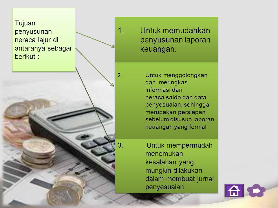 Neraca lajur atau kertas kerja adalah suatu kertas berkolom-kolom atau berlajur-lajur yang direncanakan secara khusus untuk menghimpun semua data akuntansi yang dibutuhkan pada saat perusahaan akan menyusun laporan keuangan secara sistematis.