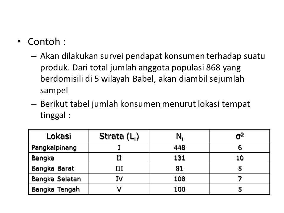 Contoh : – Akan dilakukan survei pendapat konsumen terhadap suatu produk. Dari total jumlah anggota populasi 868 yang berdomisili di 5 wilayah Babel,