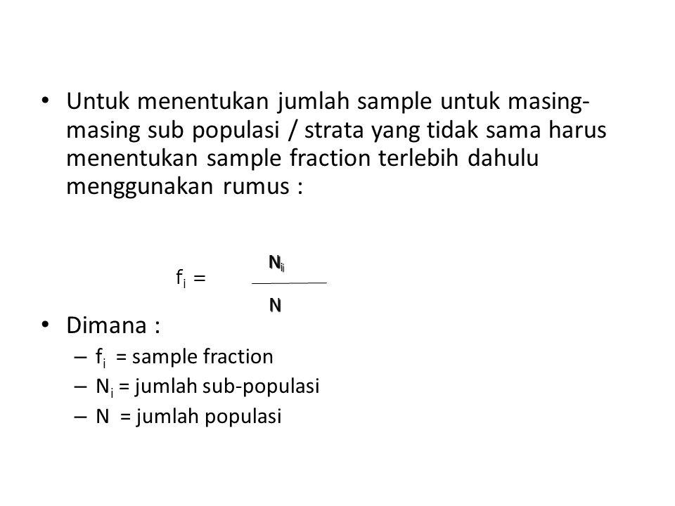 Untuk menentukan jumlah sample untuk masing- masing sub populasi / strata yang tidak sama harus menentukan sample fraction terlebih dahulu menggunakan