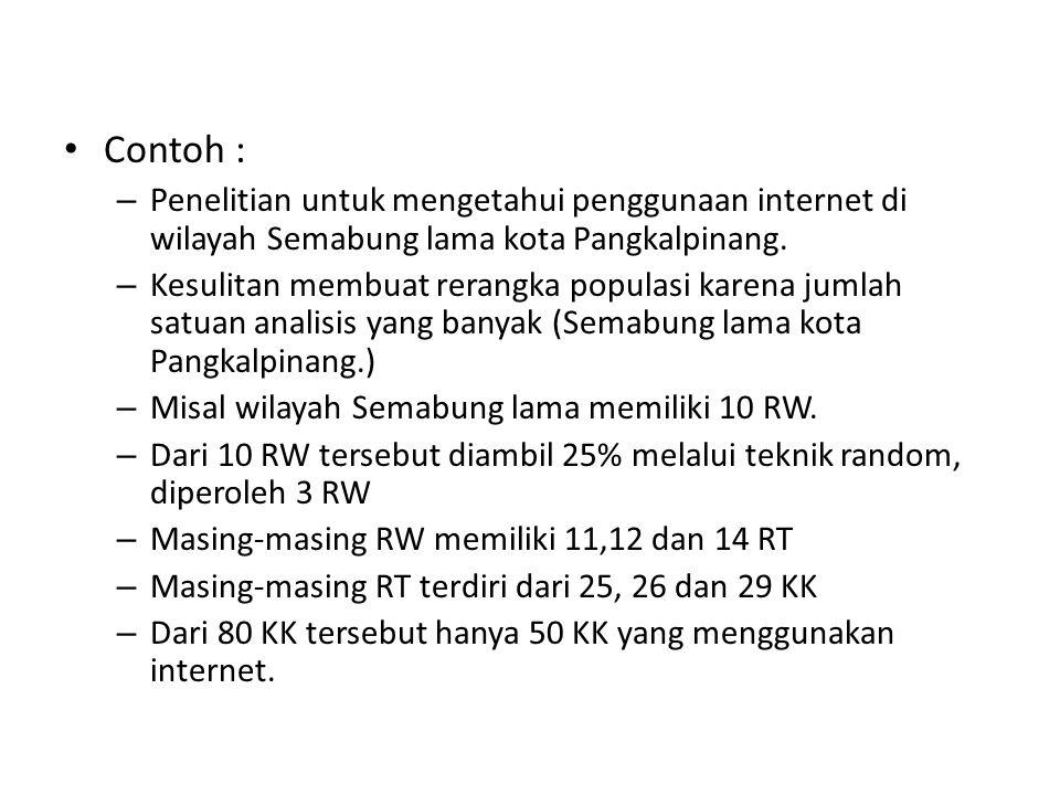 Contoh : – Penelitian untuk mengetahui penggunaan internet di wilayah Semabung lama kota Pangkalpinang. – Kesulitan membuat rerangka populasi karena j