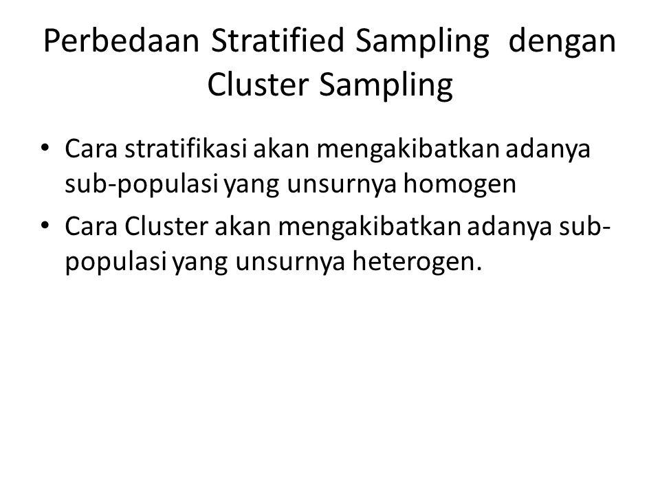 Perbedaan Stratified Sampling dengan Cluster Sampling Cara stratifikasi akan mengakibatkan adanya sub-populasi yang unsurnya homogen Cara Cluster akan