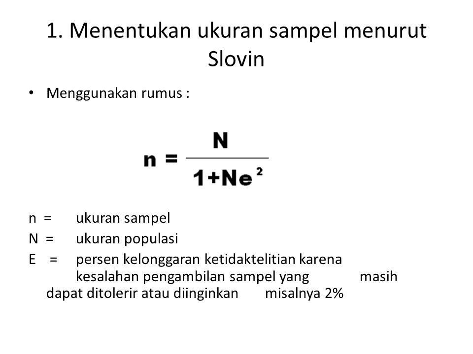 1. Menentukan ukuran sampel menurut Slovin Menggunakan rumus : n = ukuran sampel N = ukuran populasi E = persen kelonggaran ketidaktelitian karena kes