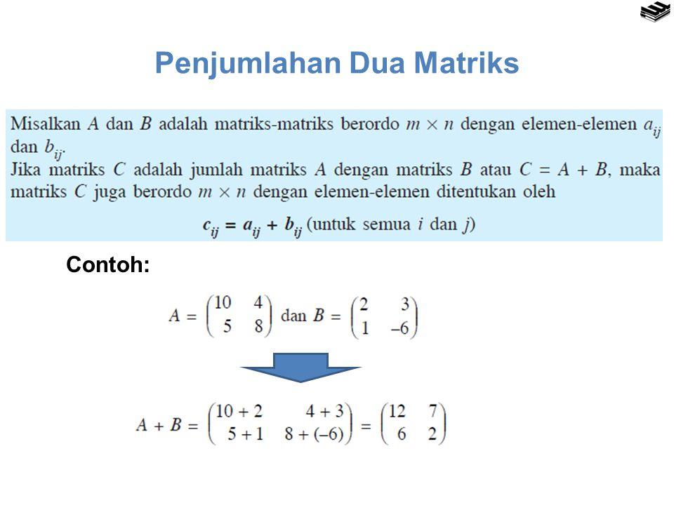 Penjumlahan Dua Matriks Contoh: