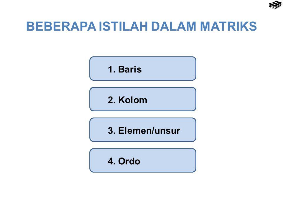 Baris, Kolom, dan Elemen  Baris dari suatu matriks adalah bagian susunan bilangan yang dituliskan mendatar atau horisontal dalam matriks.
