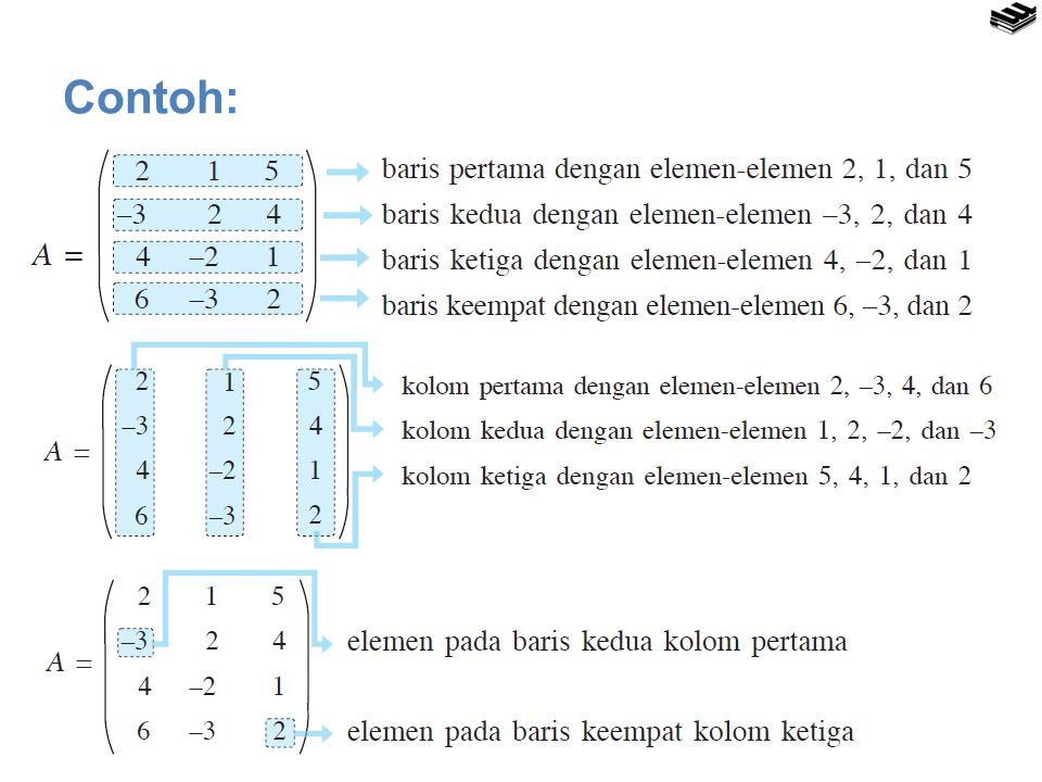 Transpos Matriks Transpos dari matriks A berordo m × n adalah sebuah matriks A′ berordo n × m yang disusun dengan proses sebagai berikut:  Baris pertama matriks A ditulis menjadi kolom pertama dalam matriks A′,  Baris kedua matriks A ditulis menjadi kolom kedua dalam matriks A′,  Baris ketiga matriks A ditulis menjadi kolom ketiga dalam matriks A′, …, demikian seterusnya  Baris ke-m matriks A ditulis menjadi kolom ke-m dalam matriks A′.