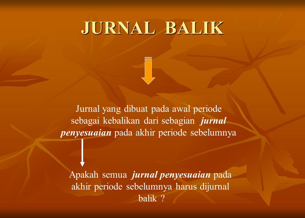 JURNAL BALIK Jurnal yang dibuat pada awal periode sebagai kebalikan dari sebagian jurnal penyesuaian pada akhir periode sebelumnya Apakah semua jurnal penyesuaian pada akhir periode sebelumnya harus dijurnal balik ?