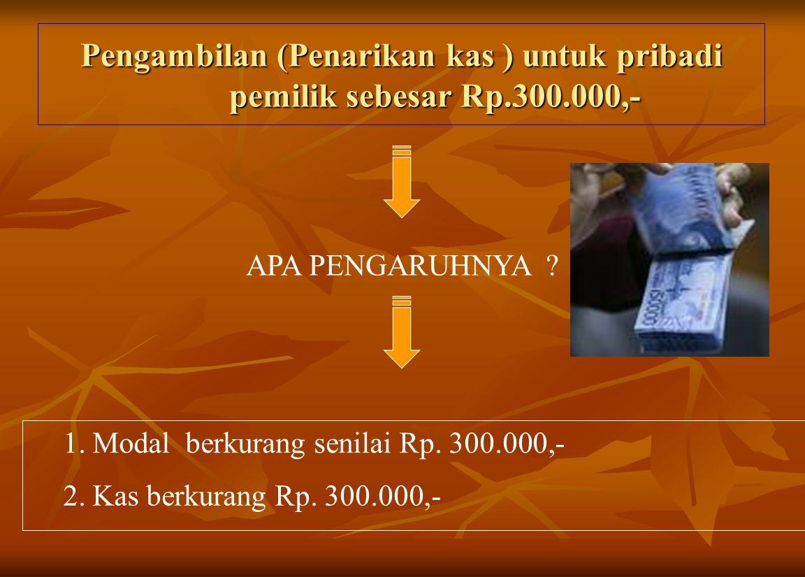 Pengambilan (Penarikan kas ) untuk pribadi pemilik sebesar Rp.300.000,- APA PENGARUHNYA .