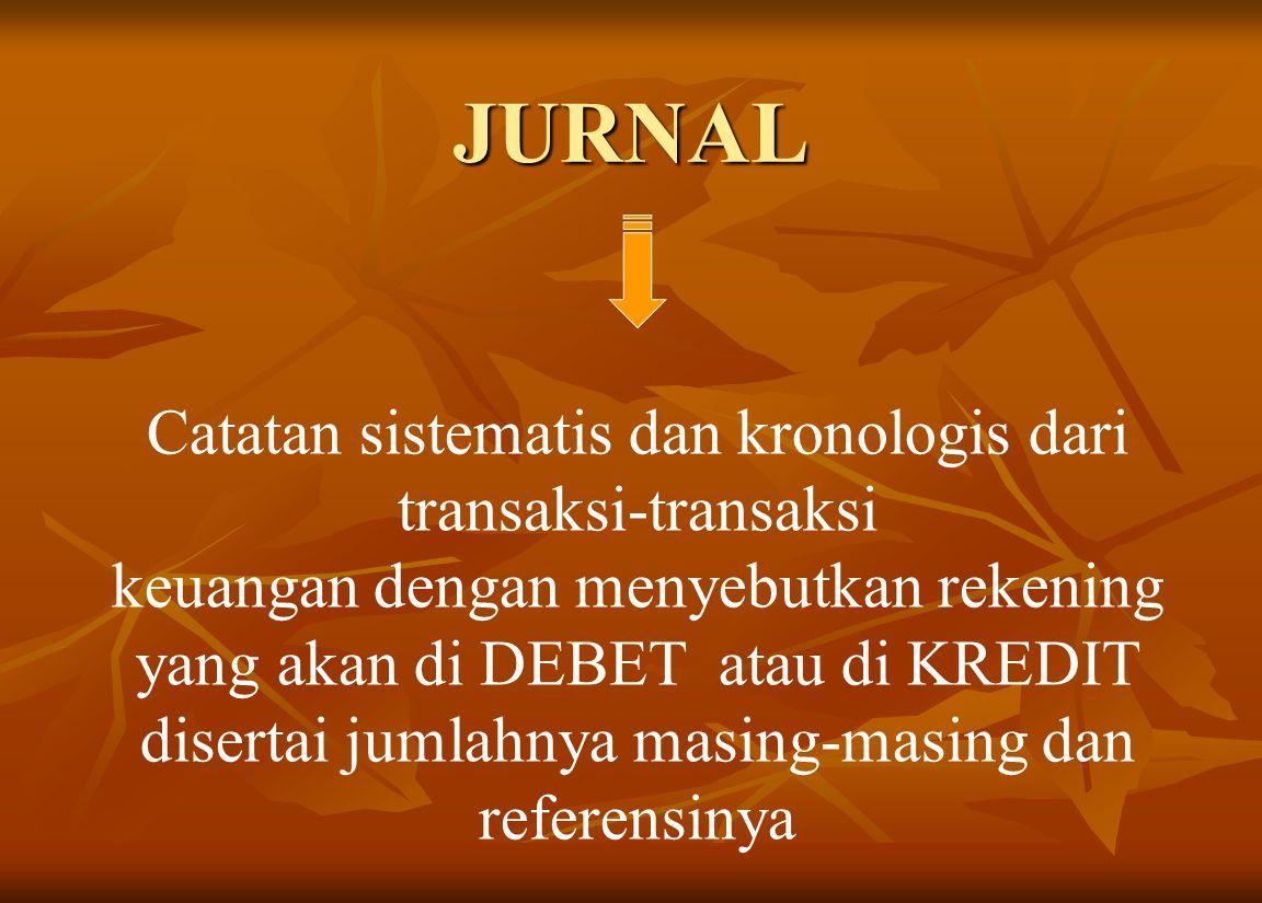 JURNAL Catatan sistematis dan kronologis dari transaksi-transaksi keuangan dengan menyebutkan rekening yang akan di DEBET atau di KREDIT disertai jumlahnya masing-masing dan referensinya