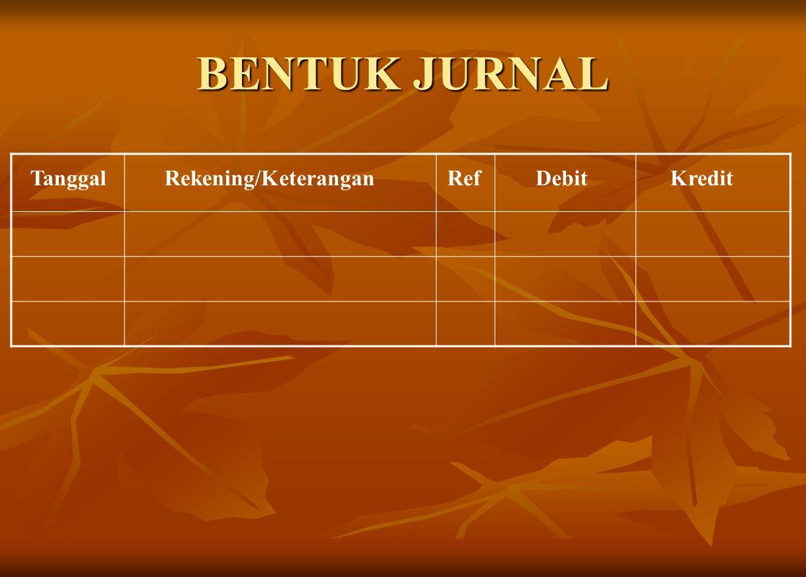BENTUK JURNAL TanggalRekening/KeteranganRefDebitKredit